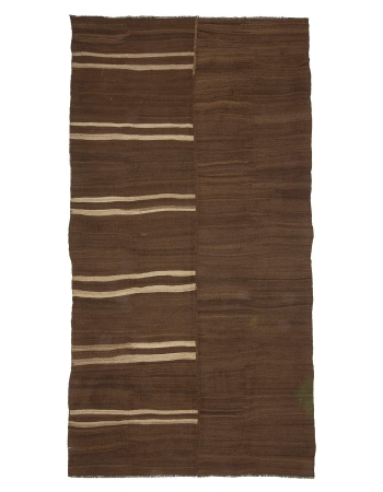 Brown Natural Vintage Turkish Wool Kilim Rug