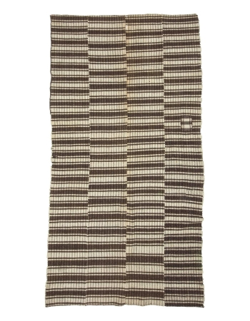 Ivory & Brown Vintage Modern Turkish Kilim Rug