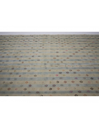 Striped Vintage Cotton Turkish Kilim Rug