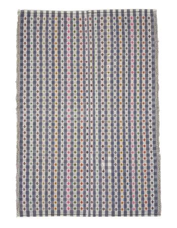 Embroidered Vintage Modern Kilim Rug