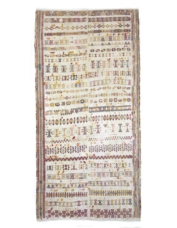 Decorative Vintage Embroidered Turkish Cotton Kilim Rug