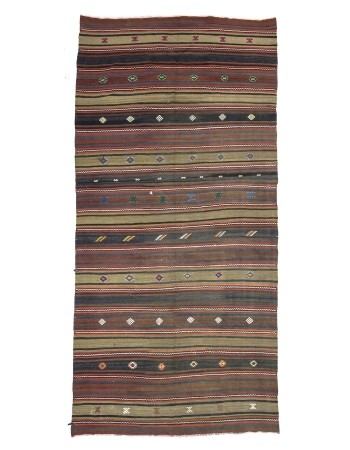 Striped Vintage Turkish Wool Kilim Rug