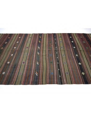 Striped Vintage Turkish Wool Kilim Rug