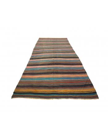 Striped Vintage Turkish Denizli Kilim Rug