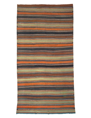 Large Vintage Striped Turkish Kilim Rug