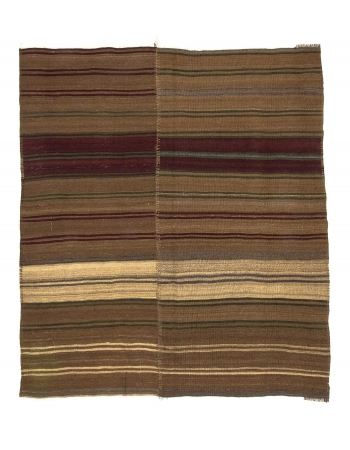Vintage Brown & Burgundy Kilim Rug