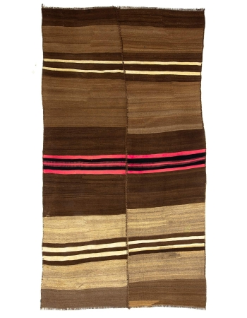 Brown & Pink Striped Vintage Kilim Rug