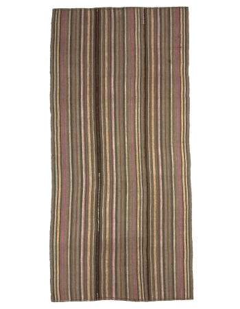 Brown Striped Vintage Turkish Wool Kilim