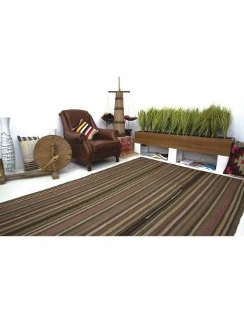 Brown Striped Vintage Turkish Wool Kilim