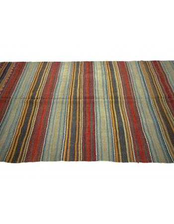 Vintage Striped Turkish Kilim Rug