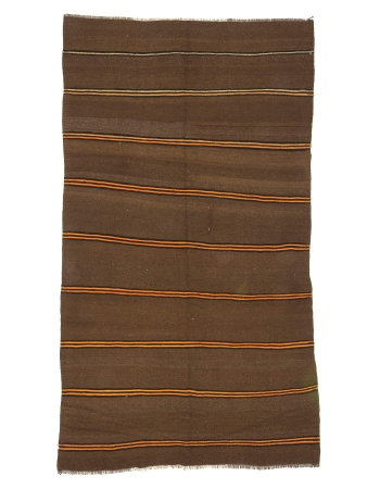 Brown & Orange Striped Vintage Wool Kilim Rug