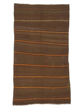 Brown & Orange Striped Vintage Wool Kilim Rug