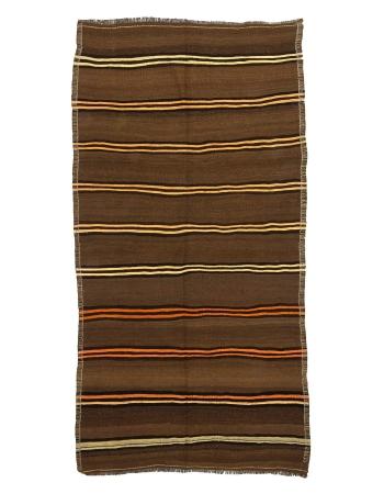 Striped Vintage Brown Turkish Kilim Rug