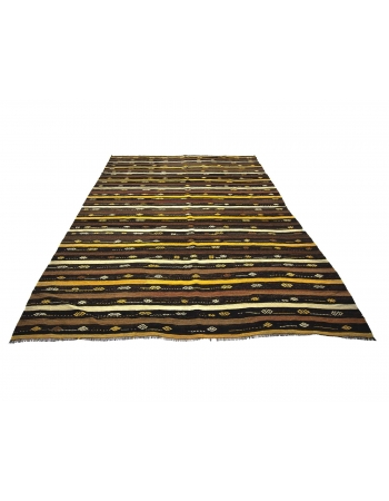 Striped Vintage Embroidered Kars Kilim Rug