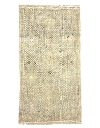 Washed Out Embroidered Cotton Kilim Rug
