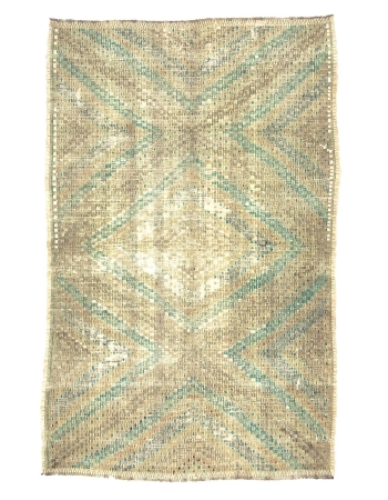 Embroidered Washed Out Vintage Cotton Kilim
