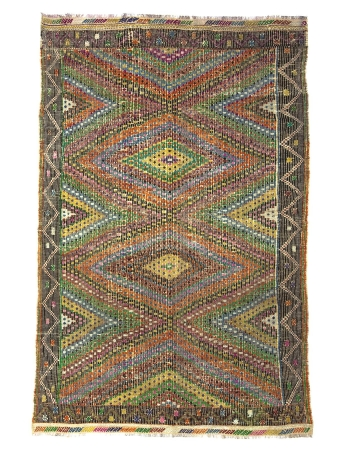 Embroidered Vintage Turkish Cotton Kilim