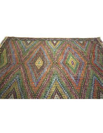 Embroidered Vintage Turkish Cotton Kilim