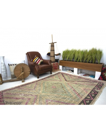 Washed Out Vintage Embroidered Cotton Kilim