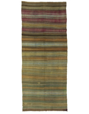 Striped Washed out Turkish Kilim Rug