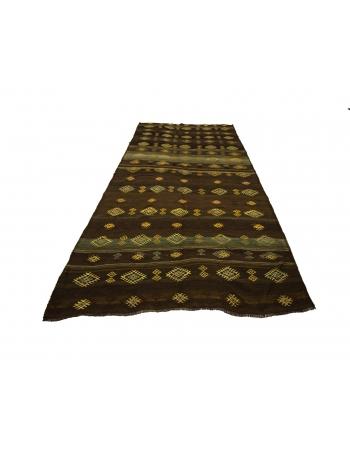 Embroidered Brown Turkish Kilim Rug