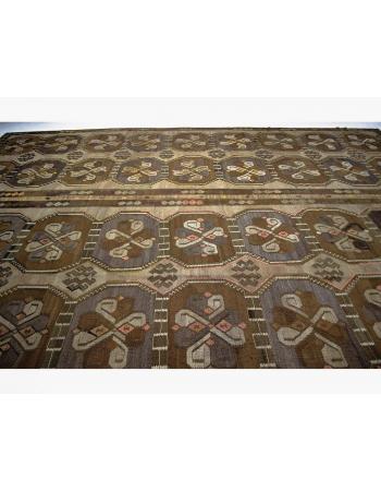 Oversized Vintage Turkish Kars Wool Kilim Rug