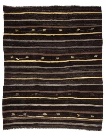 Brown & Gray & Yellow Striped Vintage Kilim Rug