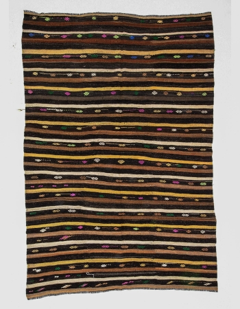 Striped Vintage Turkish Kilim Rug