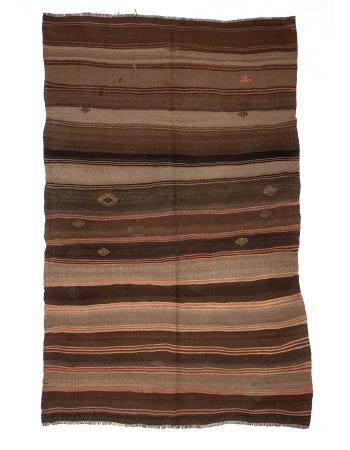 Brown Vintage Wool Kilim Rug