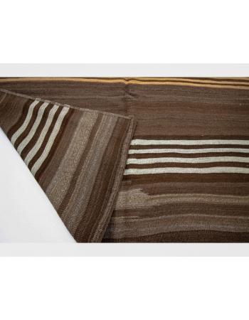Vintage Brown Wool Turkish Kilim Rug