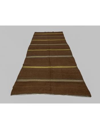 Brown & Yellow Striped Vintage Wool Kilim Rug