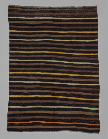 Vintage Striped Modern Turkish Kilim Rug