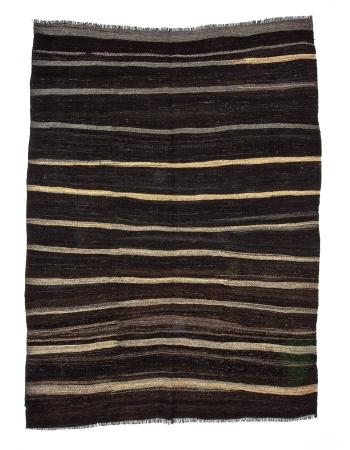 Striped Modern Vintage Goat Hair Kilim Rug