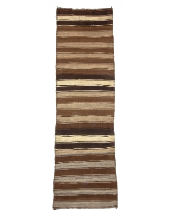 Brown Striped Vintage Natural Kilim Runner