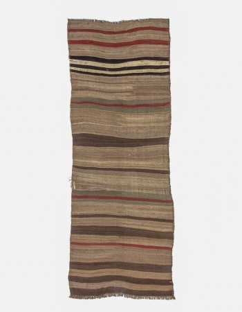 Natural Vintage Brown Kilim Runner Rug