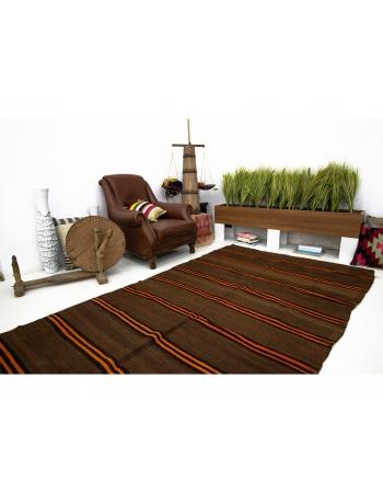 Orange Striped Brown Vintage Kilim Rug