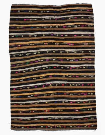 Large Vintage Striped Kilim Rug