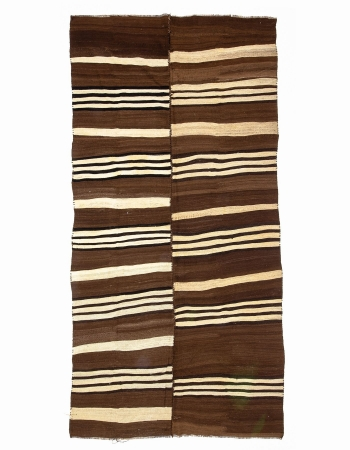 Ivory & Brown Vintage Wool Kilim Rug