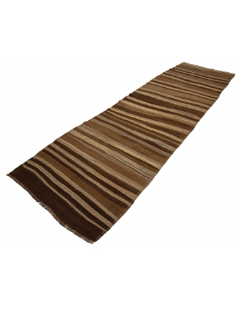 Striped Natural Vintage Brown Wool Kilim Runner