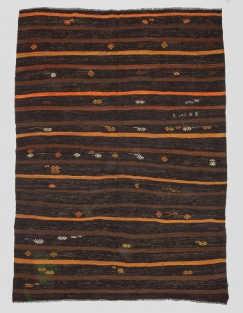 Brown & Orange Striped Vintage Kilim Rug
