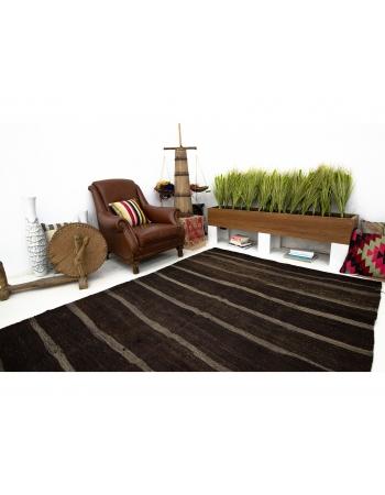 Dark Brown & Gray Vintage Striped Kilim Rug