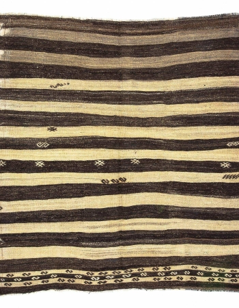 Striped Ivory & Brown Natural Kilim Rug