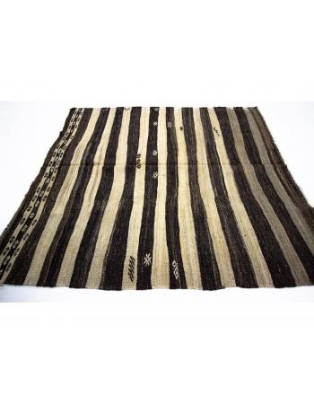 Striped Ivory & Brown Natural Kilim Rug