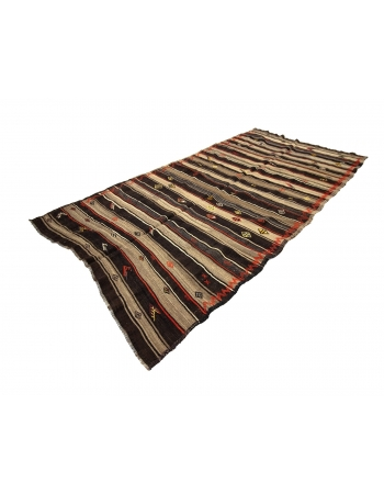 Brown & Orange Striped Vintage Kilim Rug
