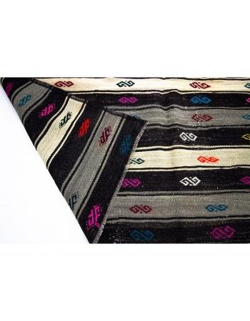 Embroidered Decorative Vintage Kilim Rug