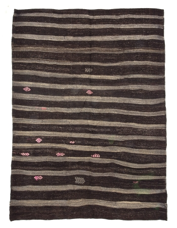 Dark Brown & Gray Striped Vintage Kilim Rug