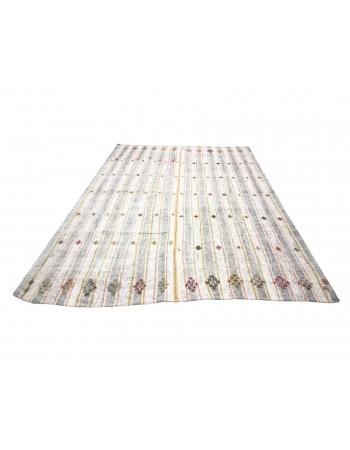 Vintage Striped Turkish Modern Kilim Rug