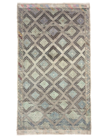 Washed Out Vintage Embroidered Kilim Rug