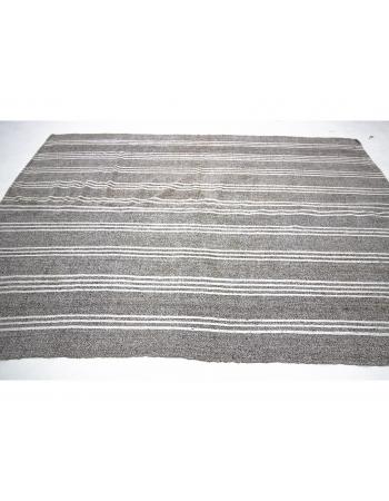 Gray & White Striped Vintage Kilim Rug