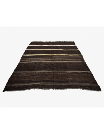 Brown & White Goat Hair Vintage Kilim Rug